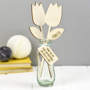 Thank You Bridesmaid Personalised Wooden Flower