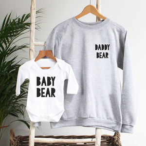 Daddy Bear And Baby Bear Twinning Sweatshirt Set - father & child sets