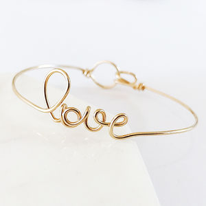 'Love' 14k Gold Filled Bangle - bracelets & bangles