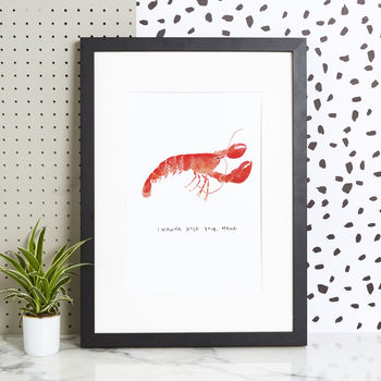 'I Wanna Hold Your Hand' Lobster Art Print
