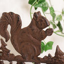 Cast Iron Decorative Squirrel Welcome Entrance Sign