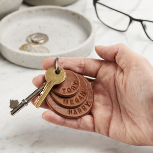 Personalised Family Names Leather Keyring - gifts for him