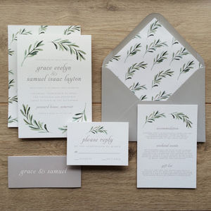 Olive Branch Wedding Invitations - wedding stationery