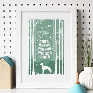 Personalised Family Print With Dog - posters & prints
