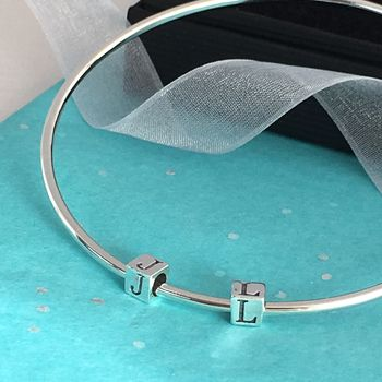 Handmade Personalised Initials Silver Bangle