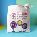 Personalised Thank You For Helping Me Grow Teacher Bag, 3 flowers design - CANVAS bag