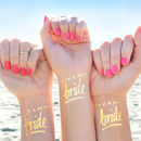 Team Bride Hen Party Metallic Gold Temporary Tattoo