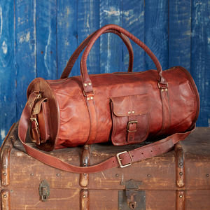 Large Brown Leather Barrel Holdall - men's accessories