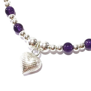 925 Silver And Amethyst Heart Bracelet