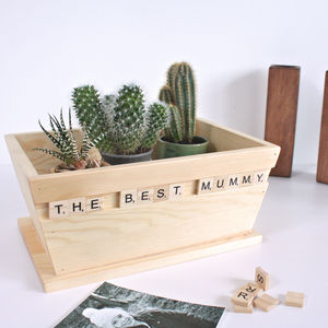 Personalised Wooden Scrabble Pot Planter