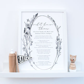 Personalised Christening Poem Print