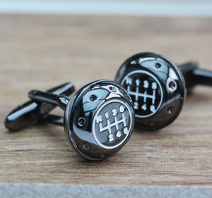 Gun Metal Gearknob Cufflinks - jewellery sale