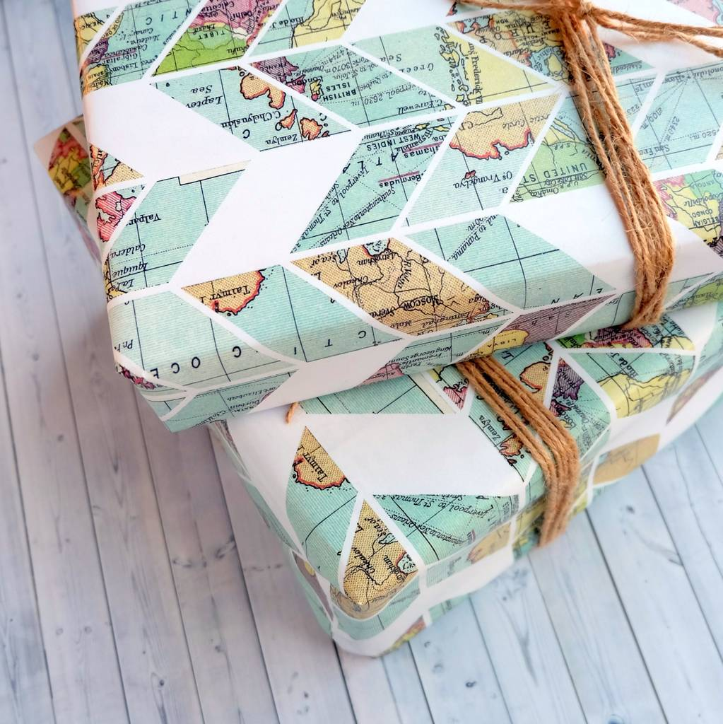 Wrapping Paper Sheets Vintage Map Design