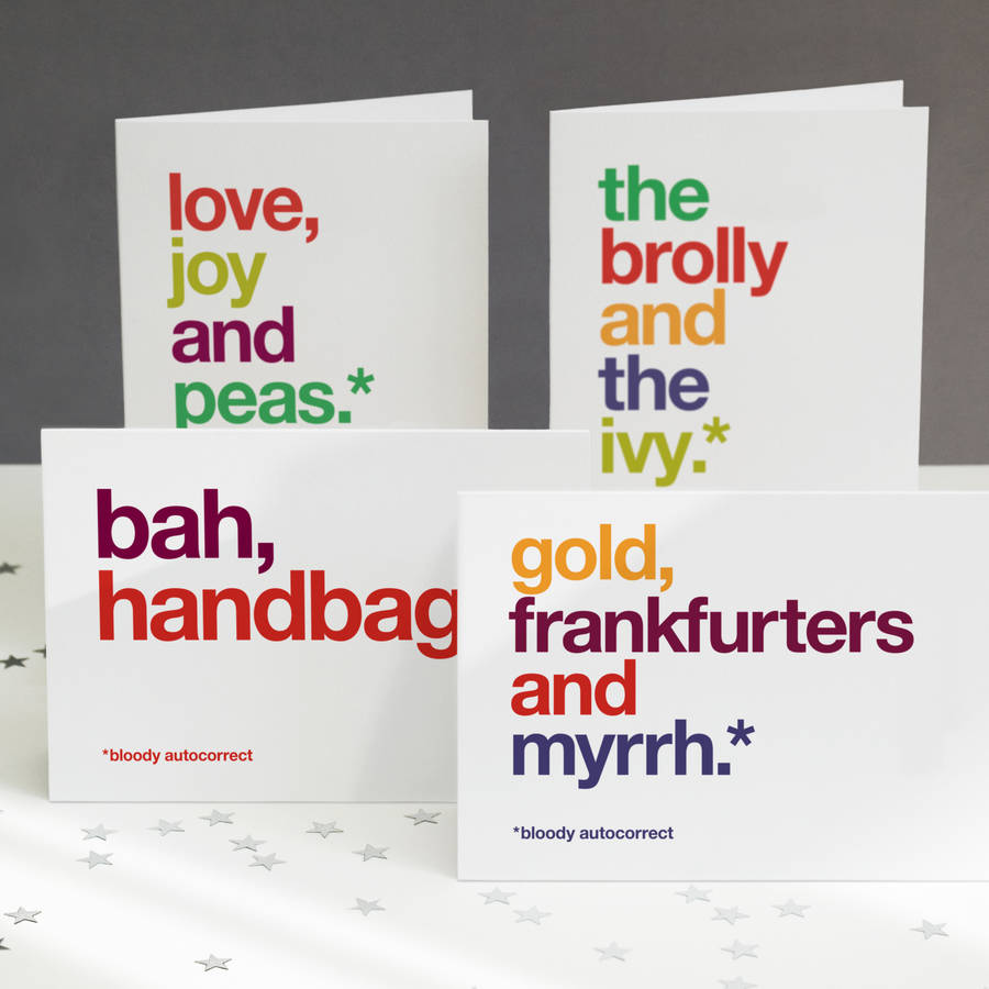 Pack Of Four Autocorrect Funny Christmas Cards By Wordplay Design