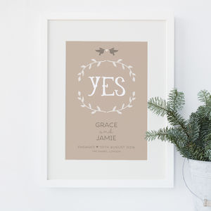 'Yes' Personalised Engagement Or Wedding Print - 100 best wedding prints