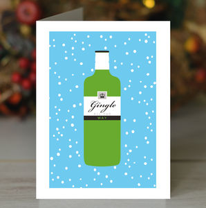'Gingle All The Way' Gin Christmas Card - cards