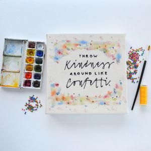 Handmade Kindness Typography Canvas Art
