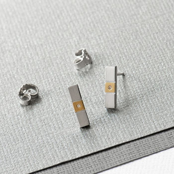 Bar Sterling Silver Diamond Stud Earrings