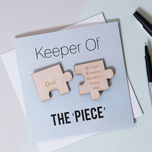 Personalised 'Keeper Of The Piece' Father's Day Card - decorative accessories