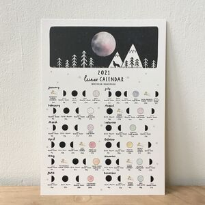 Lunar Moon Calendar And Meteor Showers A4 Print 2021