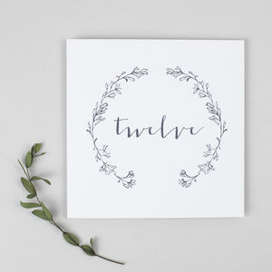 Delicate Laurel Table Number Cards Pack