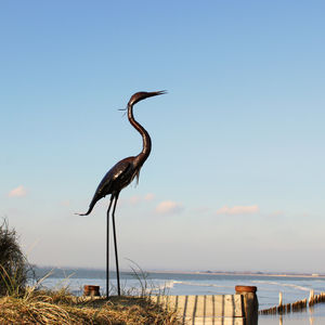 Heron Handmade Recycled Metal Garden Sculpture - gifts for the garden