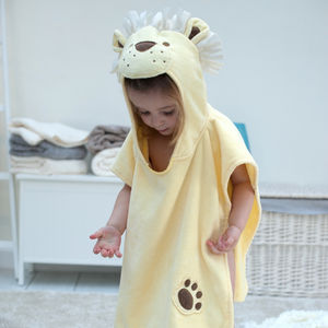 Personalised Dandy Lion Children Poncho - bathroom