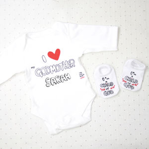 Personalised I Love My Godmother Bodysuit With Socks - clothing