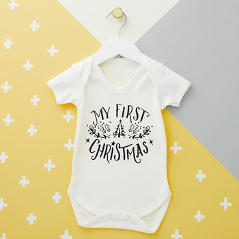 Typography First Christmas Baby Grow