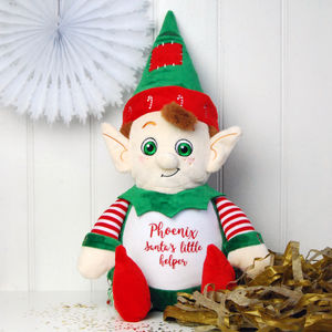 Personalised 'Tinsel Toes' Elf Soft Toy - soft toys & dolls