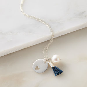 Heart Disc, Pearl And Tassel Necklace - necklaces & pendants