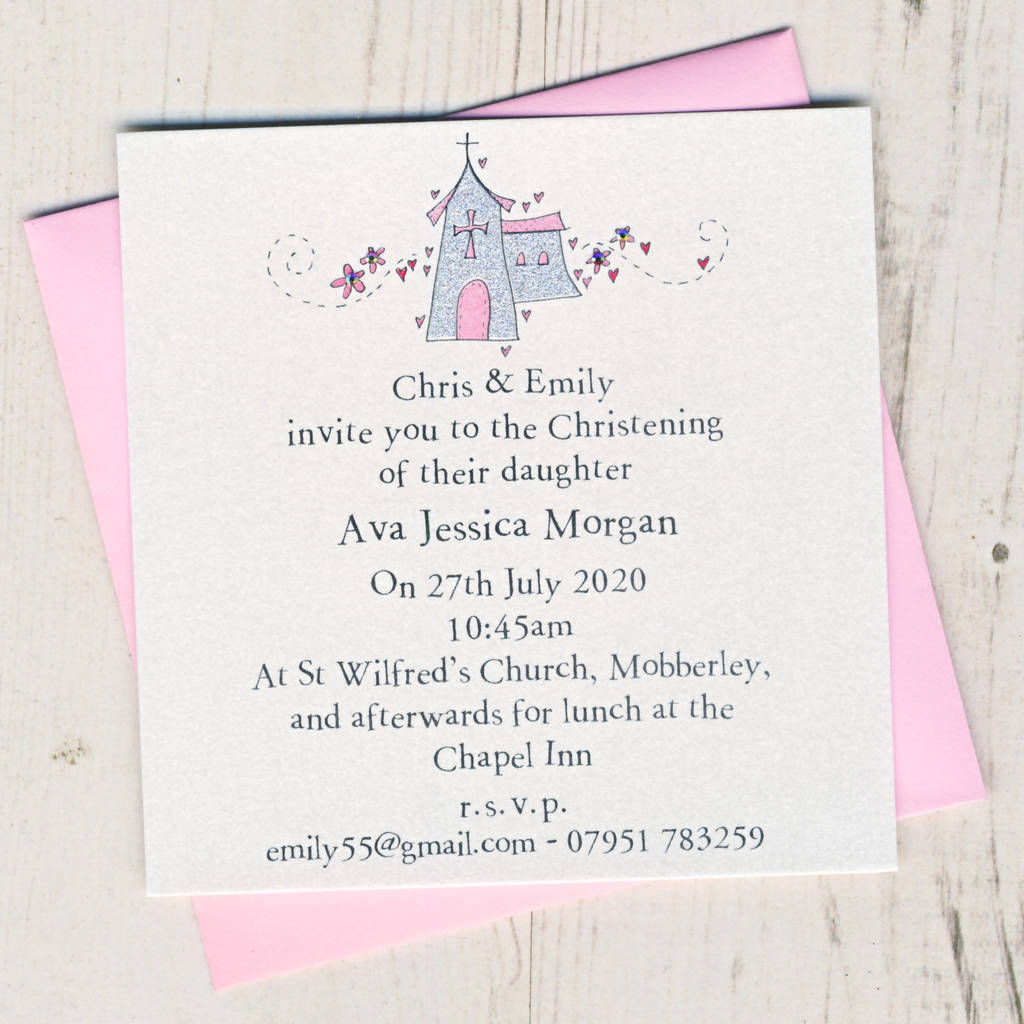 Personalised Christening Invitation Pack By Eggbert Daisy