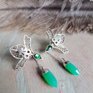 Silver Bird Ear Climber Earrings