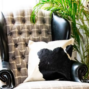 Black And White Natural Cowhide Cushion Cover