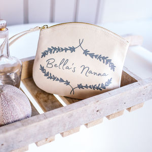 Personalised Lavender Makeup Clutch Bag