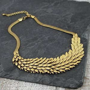 Gold Metal Feather Necklace