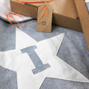 Grey & White personalised star baby blanket