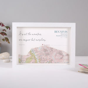 Personalised Map Mountain Print Hikers Gift