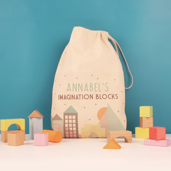 Building Blocks In A Personalised Bag