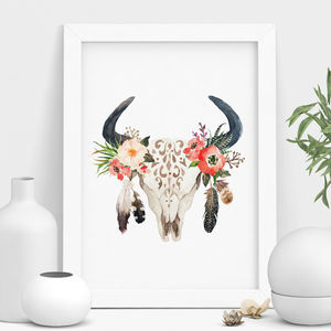'Bohemian Stag And Bull Skull' Floral Print - posters & prints