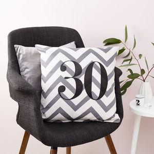 Personalised Chevron Birthday Number Cushion - bedroom