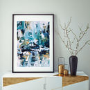 Blue Abstract Art Contemporary Modern Framed Art