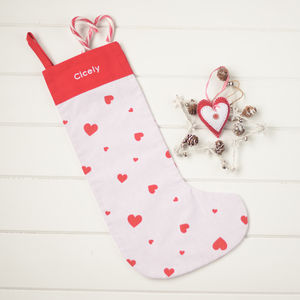 Personalised Red Heart Christmas Stocking