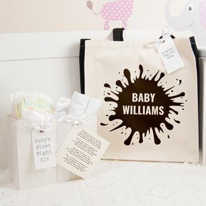 Personalised Ink Splat Hospital Bag And First Night Kit