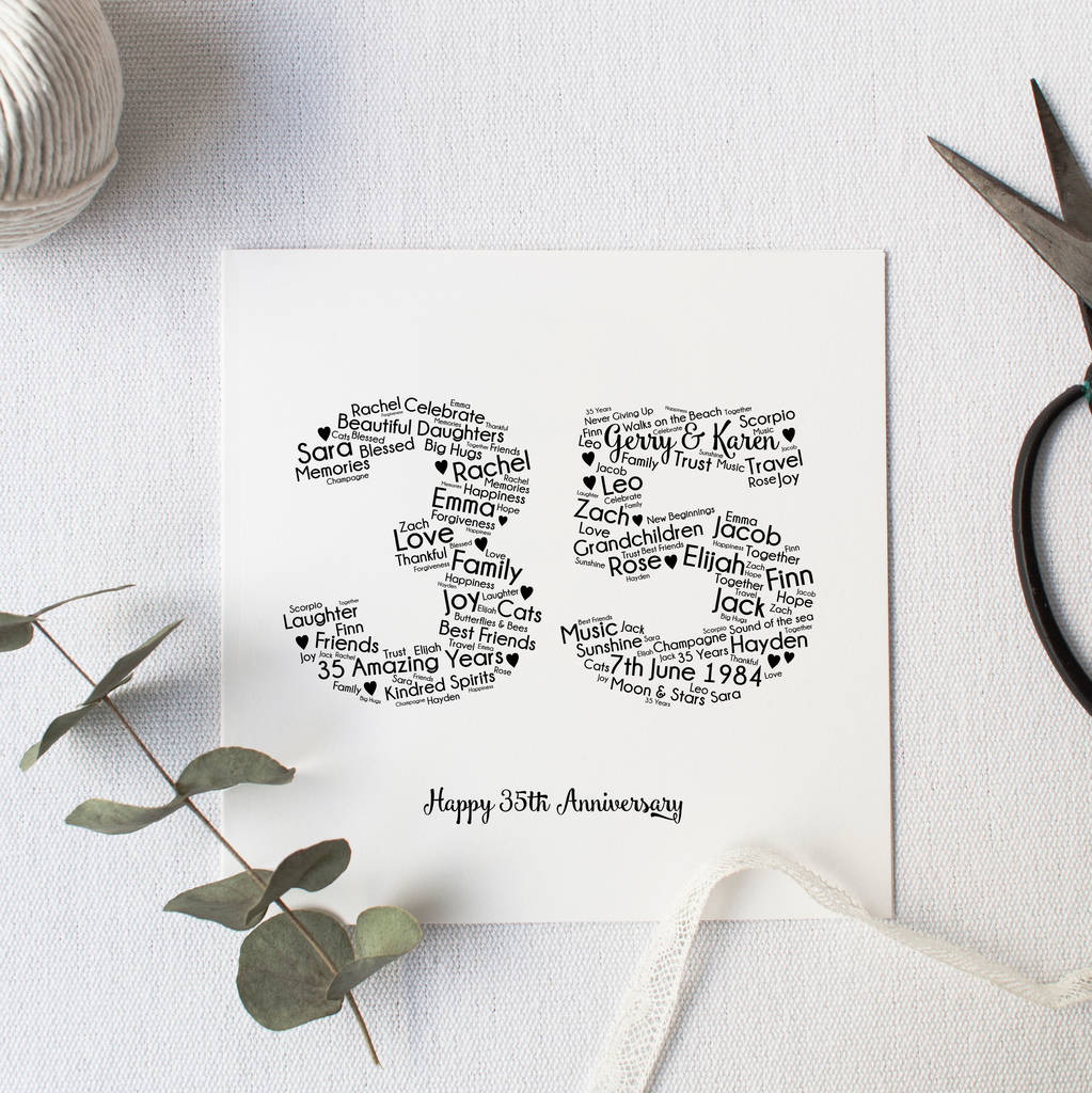 35 Year Wedding Anniversary Gifts: Personalised 35th Wedding Anniversary Gift By Hope And