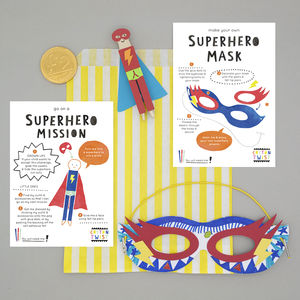 Superhero Party Bag With Mask And Peg Doll Kits - wedding day activities
