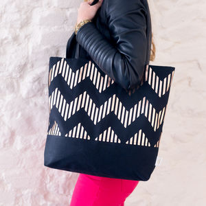 The Zig Black And Copper Shopper Bag - womens