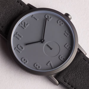 Pvd Grey Stainless Steel Watch With Alcantara Strap - watches