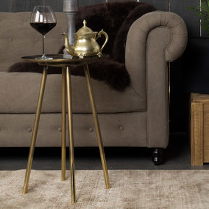Iron Side Table With Brass Dipped Legs - furniture