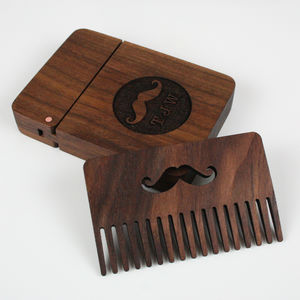 Solid Walnut And Copper Beard Comb And Box